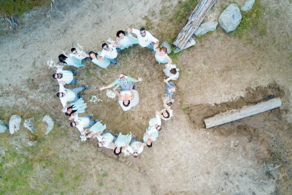 Wedding party photos taken from drone