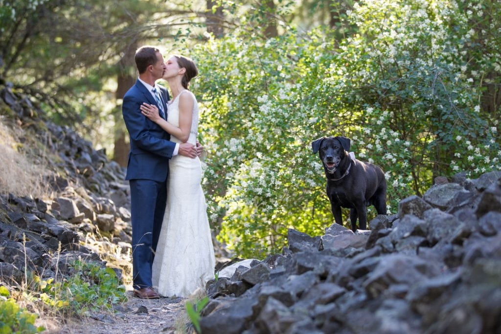 Riverside state park wedding photos with dog and bride and groom