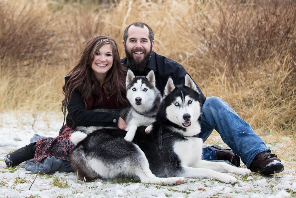 engagement photos with dogs in Spokane wa