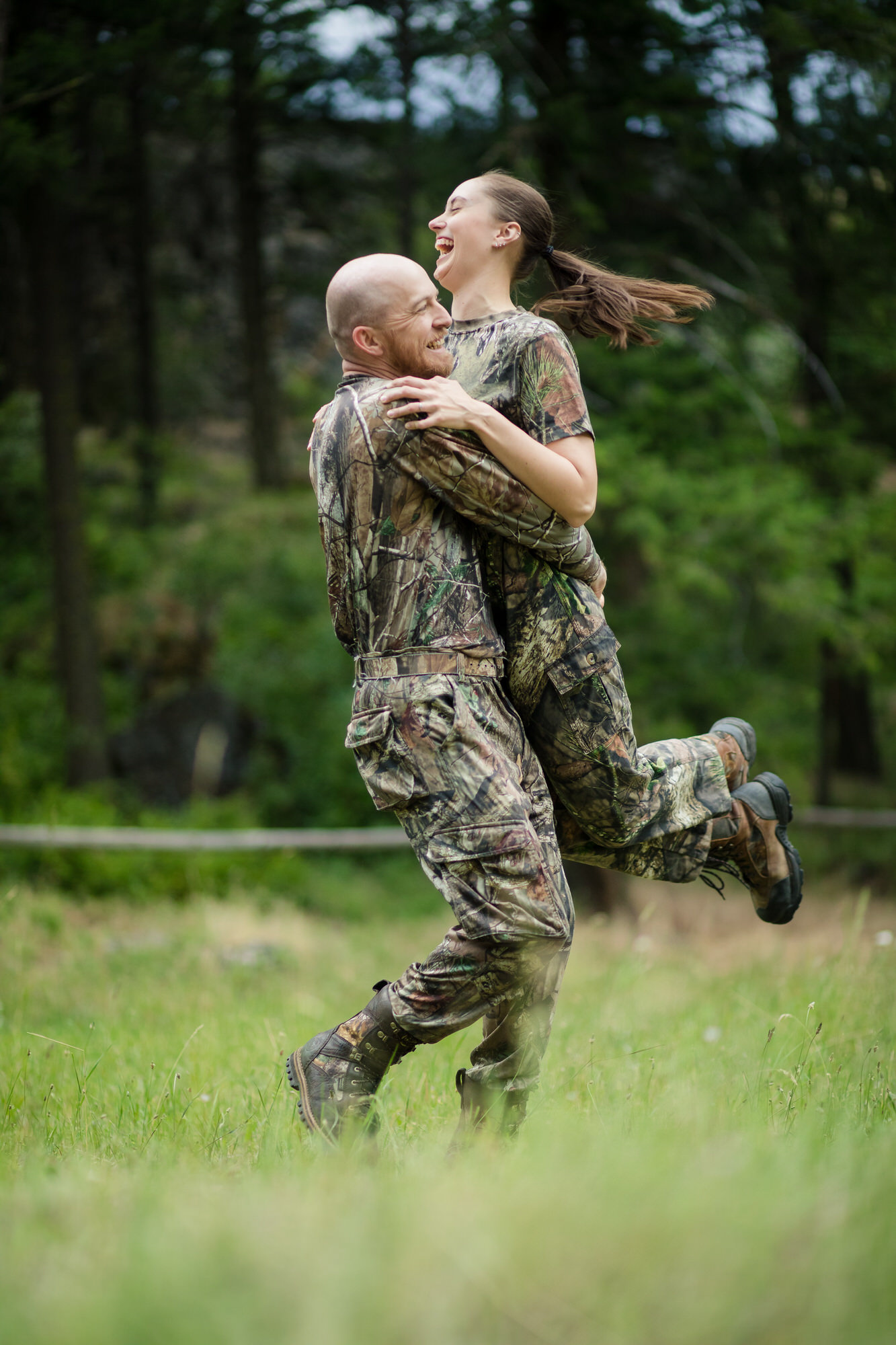 Engagement photos in the country with camp