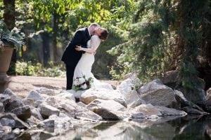 Couple having fun on wedding day