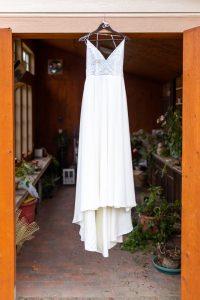 detail photo of a wedding dress