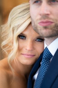 Close up wedding photo of a brides face